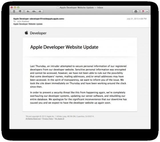 Deweloperska strona Apple shackowana