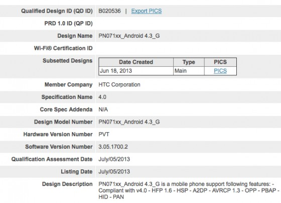 Android 4.3 na stronie Bluetooth SIG