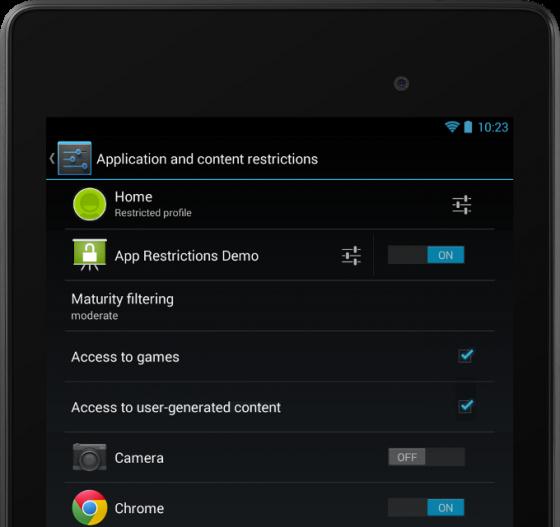 Android 4.3 - ograniczone profile
