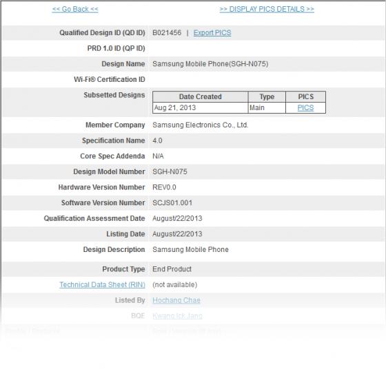 Galaxy Note 3 Bluetooth SIG
