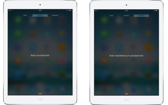 iOS 7.1 beta - centrum powiadomień