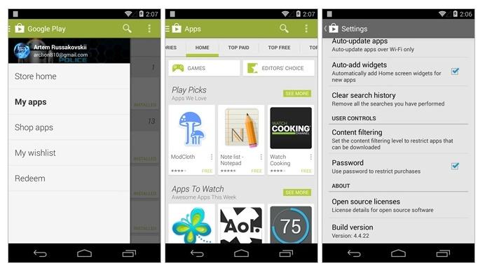 Aktualizacja Google Play 4.4.22