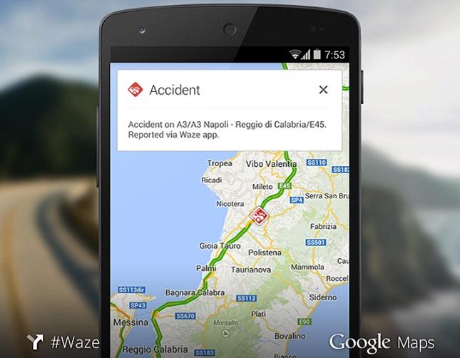 notyfikacja wypadków w Mapach Google