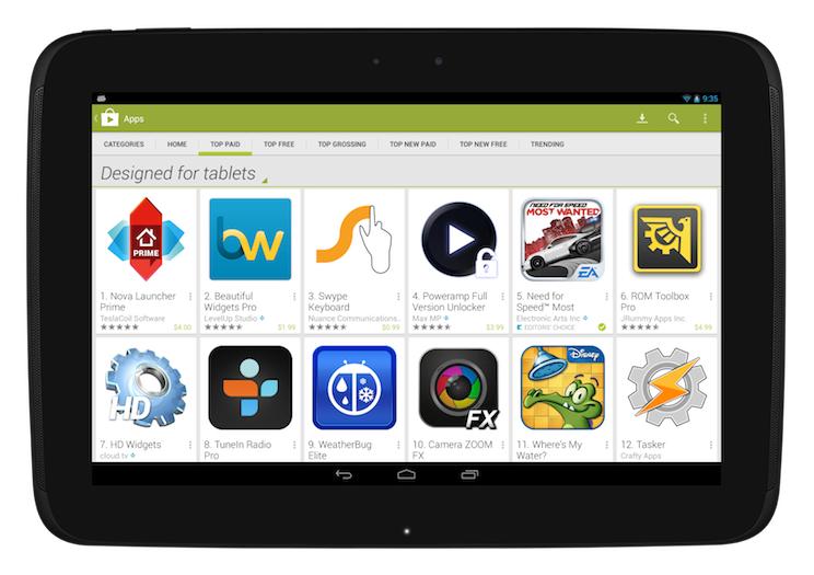 Google Play na tablety