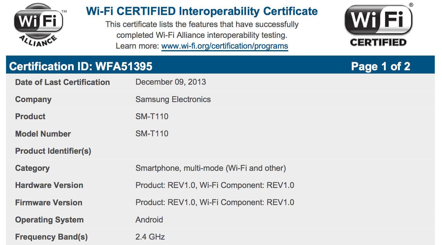 SM-T110 - certyfikat