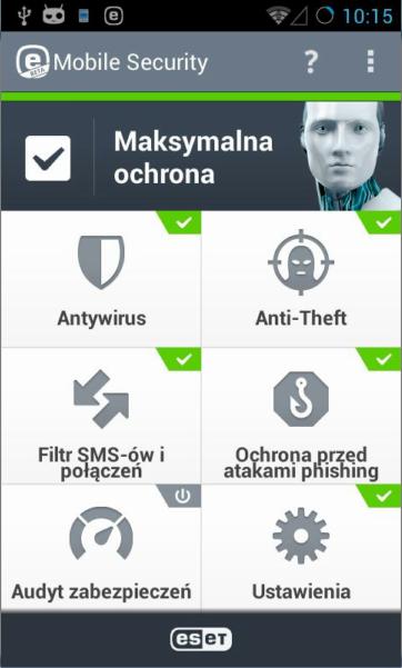 ekran główny nowej wersji ESET Mobile Security dla Androida (wersja beta)