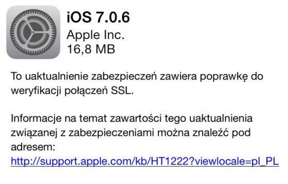Uaktualnienie iOS 7.0.6