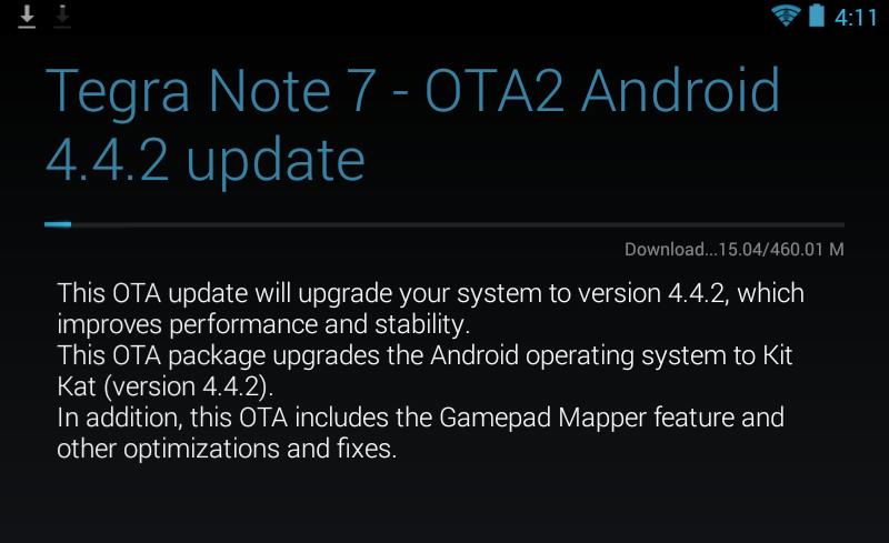 Nvidia Tegra Note OTA Kit Kat