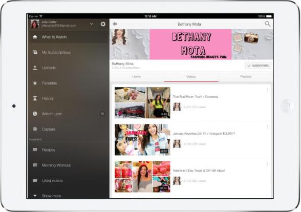 YouTube na iOS