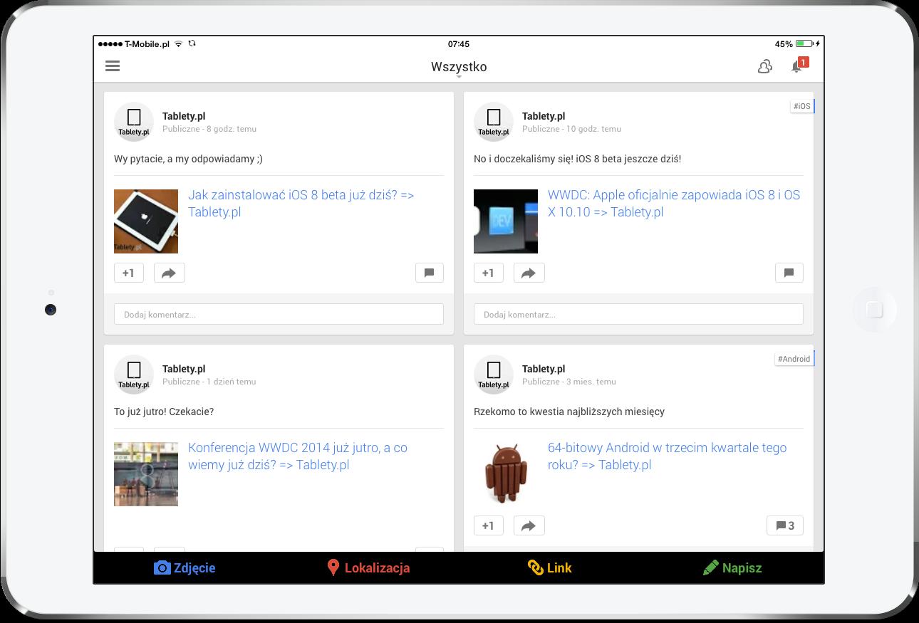Google+ na iOS