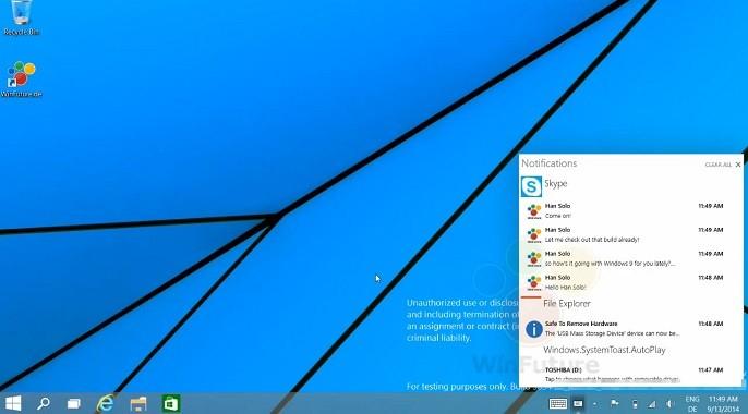 centrum powiadomień z Windows 9
