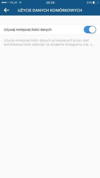 Uruchamiamy oszczędzanie  pakietu danych w Instagramie
