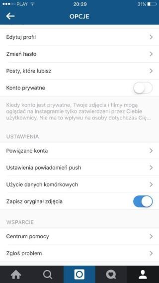Ustawienia aplikacji Instagram w systemie iOS