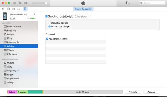 Synchronizacja dźwięków połączeń przychodzących przy pomocy iTunes