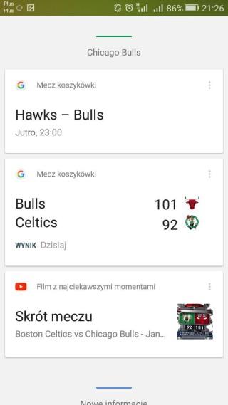 Informacje sportowe w kartach Google Now