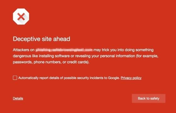Chrome ostrzeżenie