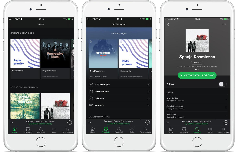 Spotify nowe menu iPhone iOS