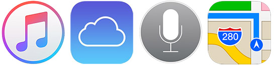 Apple Music iCloud Siri Mapy iTunes