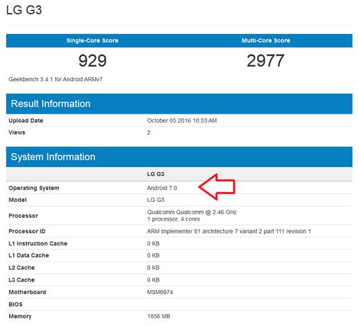 LG G3 Android 7.0 Nougat aktualizacja
