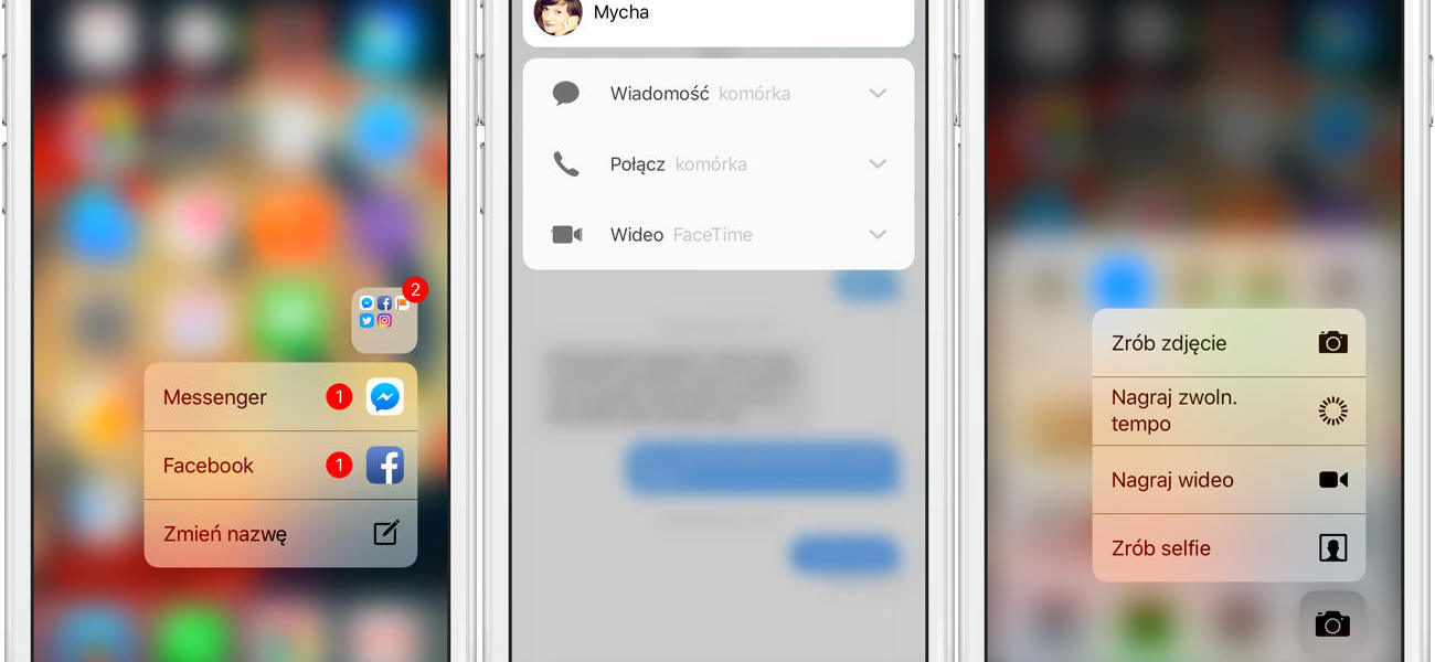 3D Touch skróty aplikacji iOS 10 iPhone 6s iPhone 7 Google Android Q