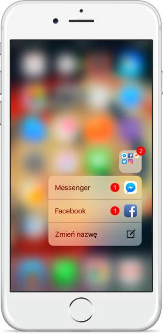 3D Touch skróty aplikacji iOS 10 iPhone 6s iPhone 7