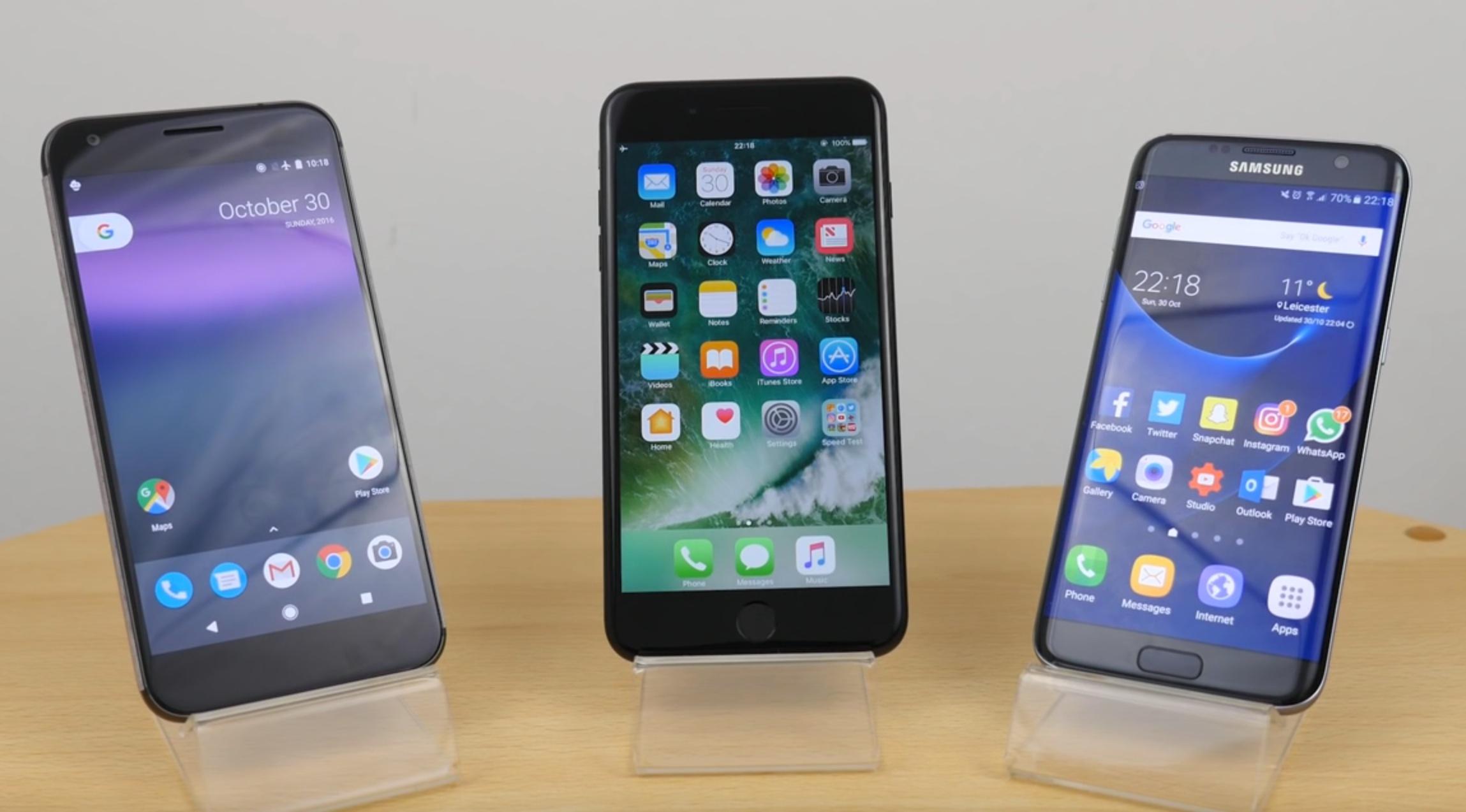Google Pixel XL vs iPhone 7 Plus vs Samsung Galaxy S7 edge test ładowania baterii