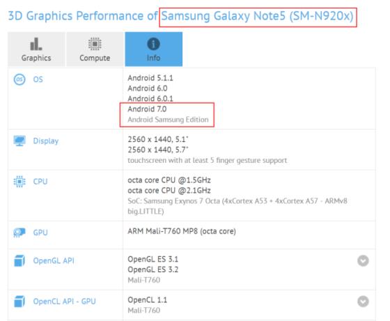 Samsung Galaxy Note 5 aktualizacja Android 7.0 Nougat