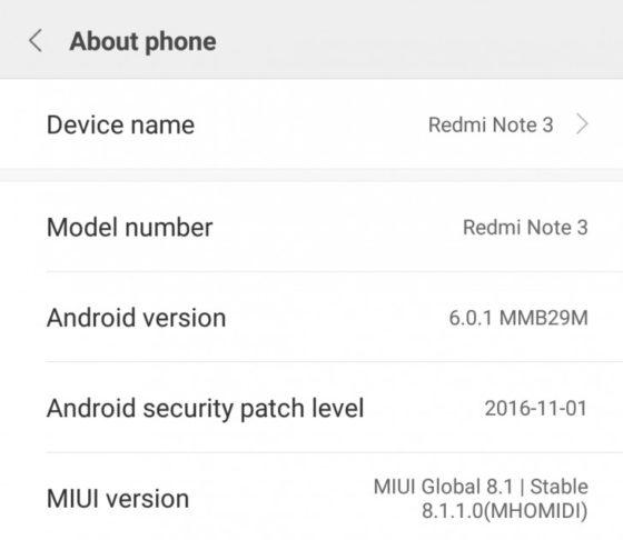 Xiaomi Redmi Note 3 MIUI 8.1 Android 6.0 Marshmallow