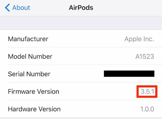 Apple AirPods aktualizacja firmware 3.5.1