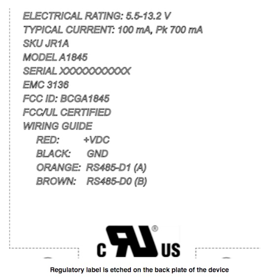 Apple A1845 FCC