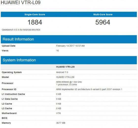 Huawei P10 Geekbench