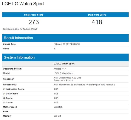 LG Watch Sport specyfikacja Geekbench