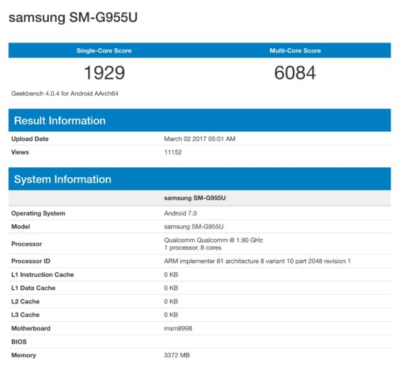 Samsung Galaxy S8 Geekbench Snapdragon 835