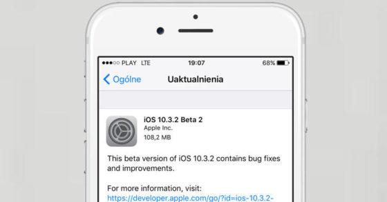 Apple iOS 10.3.2 beta 2