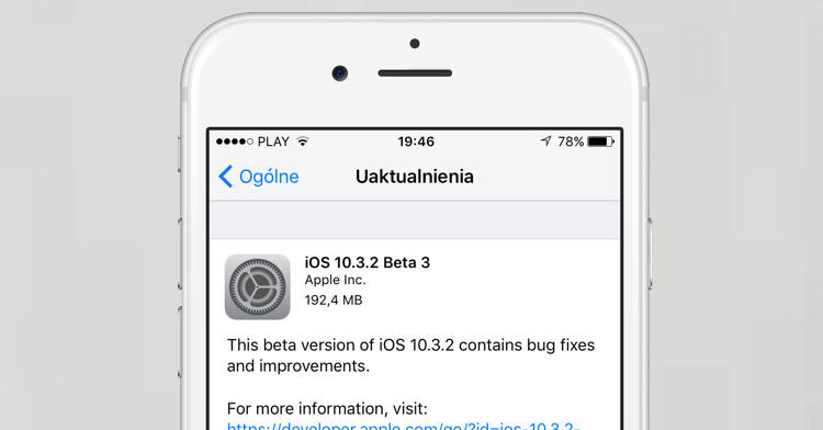 Apple iOS 10.3.2 beta 3