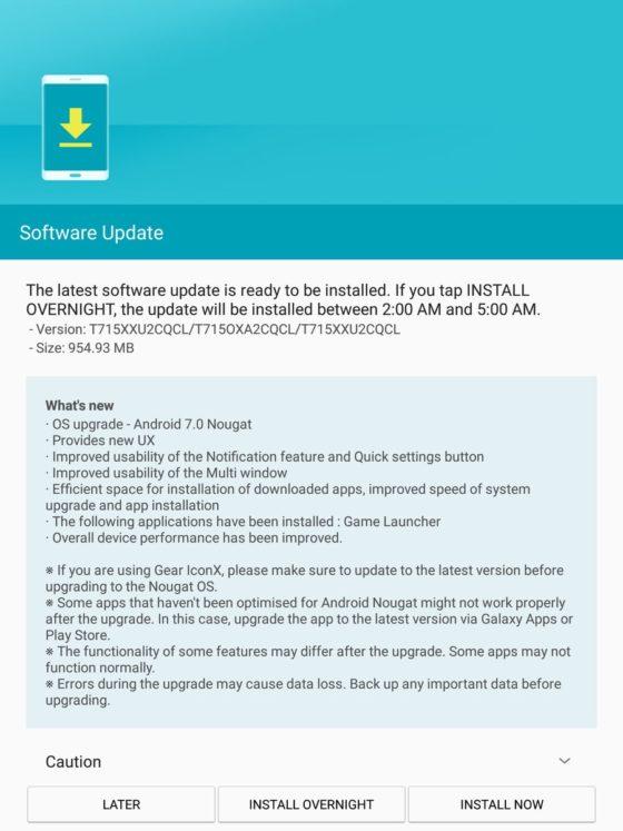 Samsung Galaxy Tab S2 Android 7.0 Nougat aktualizacja