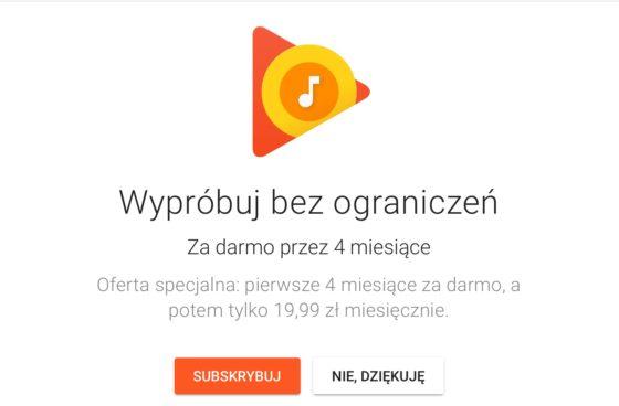 Muzyka Google Play za darmo trial