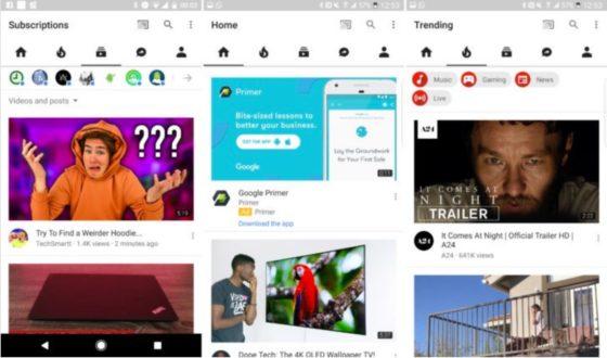 YouTube Android aplikacja nowy wygląd