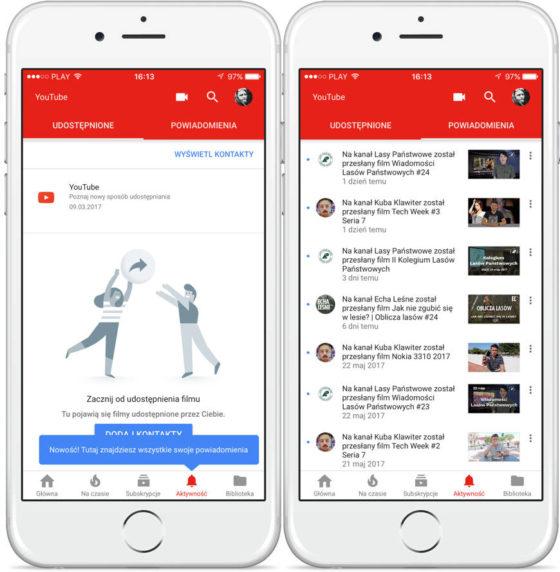 YouTube na iOS aktywność