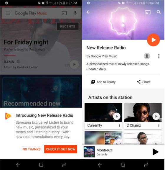 Samsung Galaxy S8 Muzyka Google Play New Release Radio