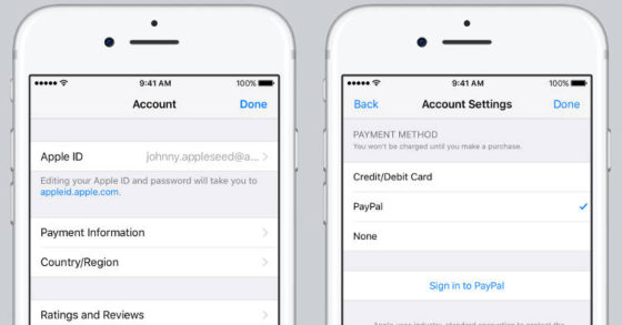 Apple ID PayPal iTunes Store