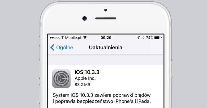 iOS 10.3.3 iPhone aktualizacja