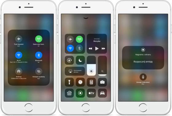 iOS 11 centrum sterowania