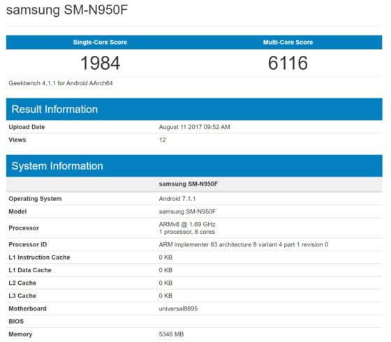 Samsung Galaxy Note 8 Android 7.1.1 Nougat Geekbench