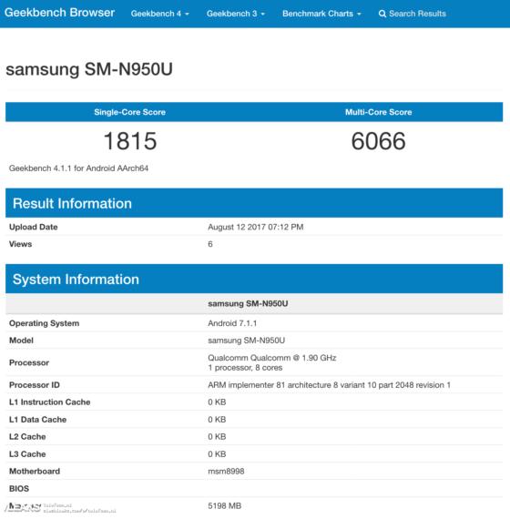 Samsung Galaxy Note 8 Geekbench