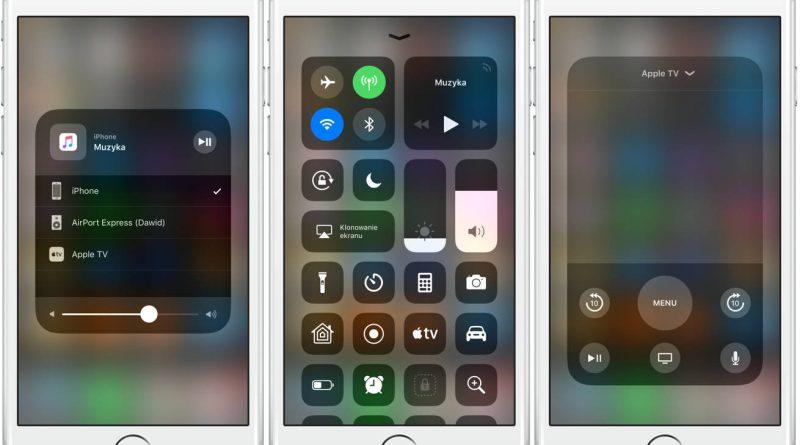 Apple iOS 11 centrum sterowania