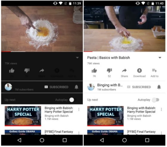 YouTube Android Dark Watch