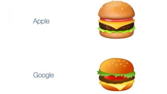 apple google hamburger emoji