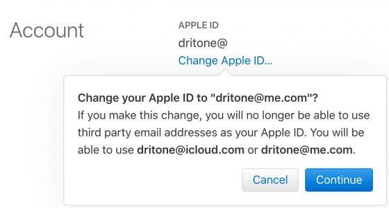 Zmiana adresu Apple ID