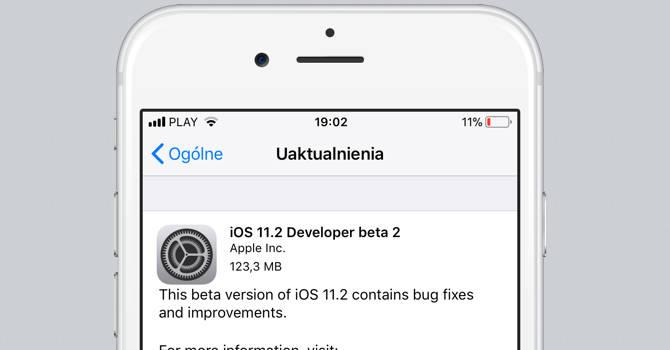 Apple iOS 11.2 beta 2
